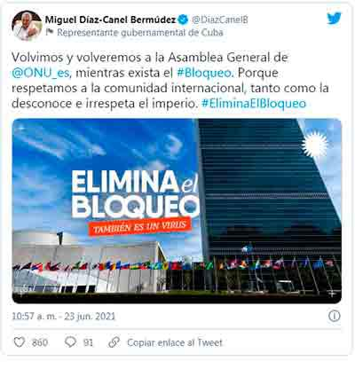 ONU pide, otra vez, poner fin al embargo a Cuba